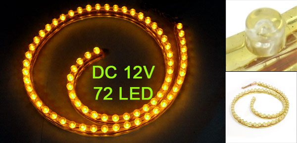 Car Auto Flexible PVC Yellow 72-LED Strip Light Lamp 72cm