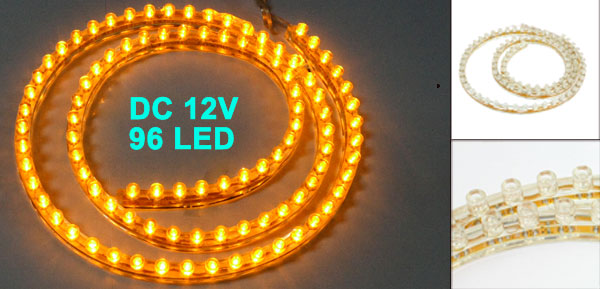 Car Auto Flexible PVC Yellow 96-LED Strip Light Lamp 96cm
