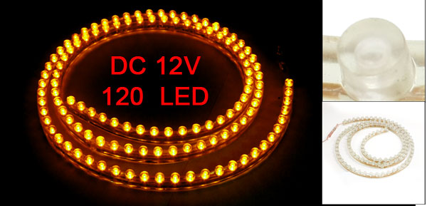 Car Auto Flexible PVC Yellow 120-LED Strip Light Lamp 120cm