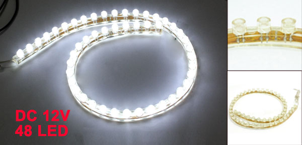 Car Auto Flexible PVC White 48-LED Strip Light Lamp 48cm