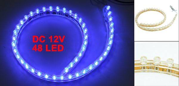 Car Auto Flexible PVC Blue 48-LED Strip Light Lamp 48cm