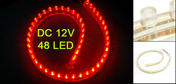 Car Auto Flexible PVC Red 48-LED Strip Light Lamp 48cm