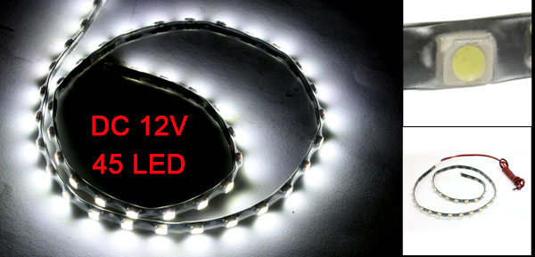Car Auto DC 12V White 1210 3528 SMD 45-LED Strip Light Lamp 60cm