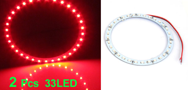 2 Pcs 100mm Dia Red 33-SMD LED Car Rear Angel Eyes Ring Light