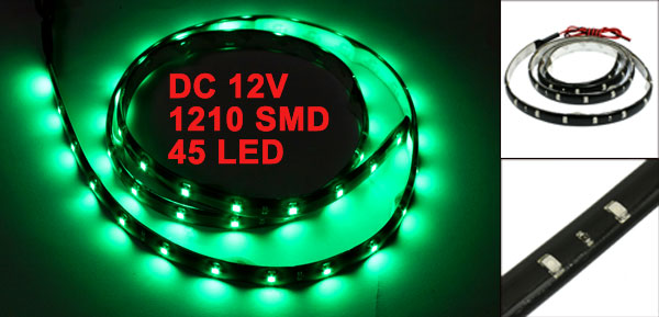 Car Auto DC 12V Green 1210 3528 SMD 45-LED Strip Light Lamp 90cm internal