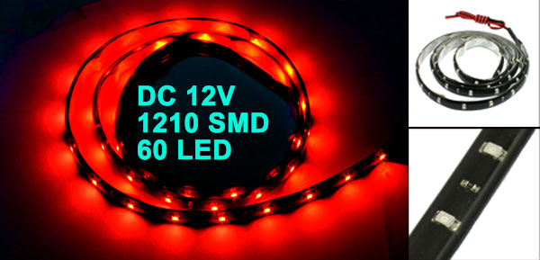 Car Auto DC 12V Red 1210 3528 SMD 60-LED Strip Light Lamp 90cm