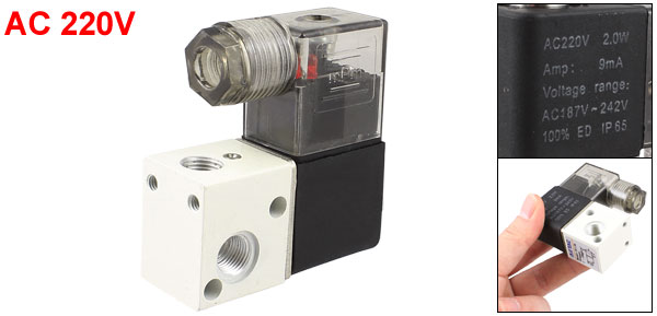 3V1-06 AC220V 2 Position 3 Way Pneumatic Solenoid Valve 0-10kgf/cm2