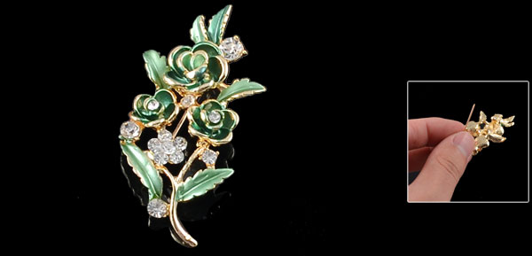 Glitter Rhinestone Metal Flower Safety Pin Breastpin Brooch Green for Lady