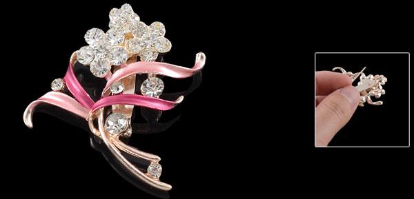 Glitter Rhinestone Ornament Flower Shaped Amaranth Leaf Pin Brooch Broach