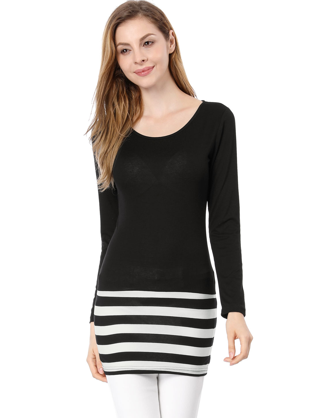 Ladies Scoop Neck Long Sleeve Textured Stripes Over Hip...