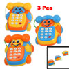 3 Pcs Plastic Car Model Music Flashing Telephone Toy for Child