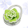 Lady Green Rose Flower Decor Handbag Design Foldable Purse Hand B...