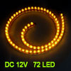 Car Auto Flexible PVC Yellow 72-LED Strip Light Lamp 72cm
