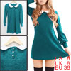 Lady Peter Pan Collar Long Sleeves Knitting Mini Dress Turquoise S