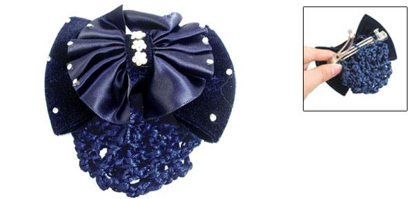 Women Faux Rhinestone Accent Meshy Bow Barrette Hair Clip Dark Blue