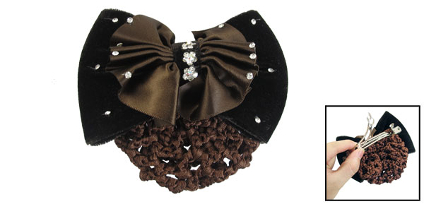 Brown Bowknot Clear Faux Crystal Meshy Barrette Hair Clip Decor for Lady