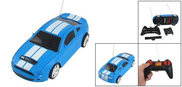 Black Handgrip Striped Pattern Blue Plastic Model Radio Control Car Plaything