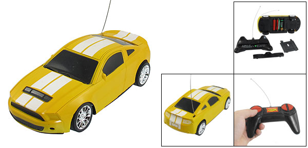 Stripe Pattern Yellow Plastic Radio Control Car Educational Toy w Remote Grip