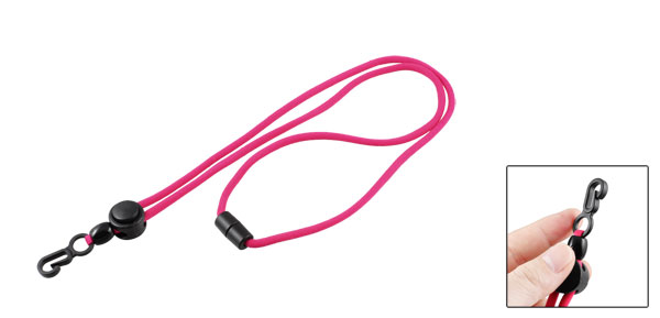 Industry Plastic Clip Fuchsia Badge Card Name Tag Pouch Wallet Hanging Strap