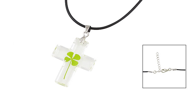 Ladies Women Green Leaf Accent Clear Cross Pendant Plastic Necklace Gift