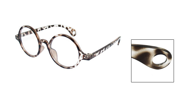 Lady Single Bridge Round Lens Leopard Print Plano Glasses Spectacles