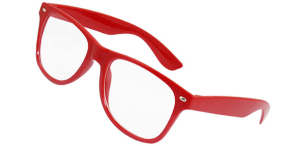 Plastic Arms Full Frame Clear Lens Plano Glasses Spectacles Red