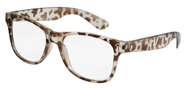 Ladies Leopard Pattern Brown Plastic Full Frame Oval Lens Plain Glasses Eyewear
