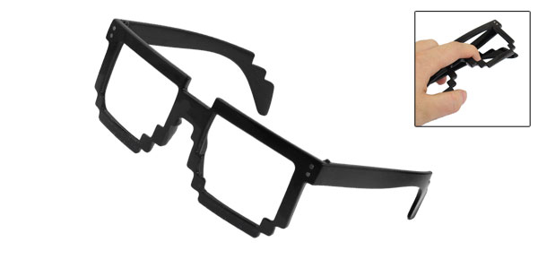 Black Square Rims No-Lens Spectacles Toothed Frame for Women