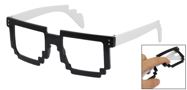 Women Black Toothed Shaped White Plastic Arms Eyeglasses Frame