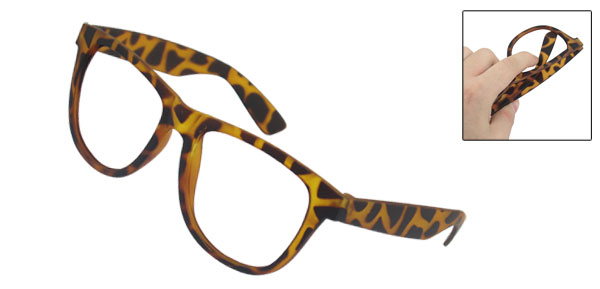 Ladies Brown Leopard Printed Clear Full Plastic Rim Oval Glasses Frame