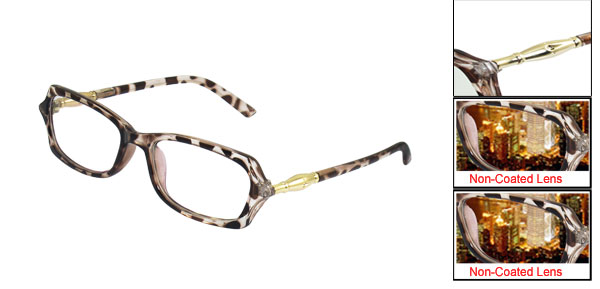 Women Leopard Pattern Full Frame Multi Coated Lens Plain Plano Glasses