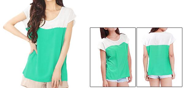 Allegra K Ladies Round Collar Rhinestone Decor Tops Blouses Light Green S