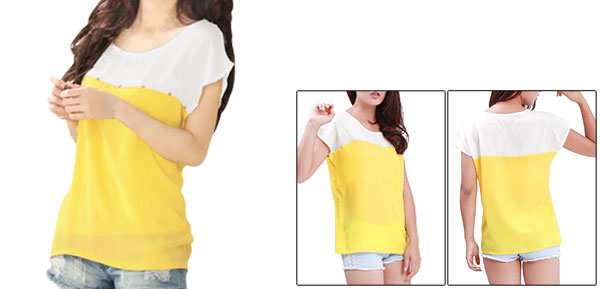 Ladies Two-tone Round Neck Studded Rhinestone Decor Shirts Yellow White S