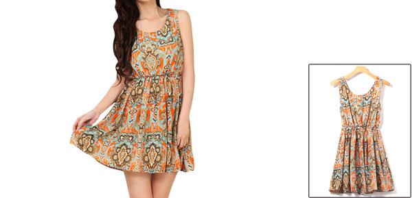 Women Sleeveless Scoop Neck Elastic Waist Printed Mini Dress Orange XS