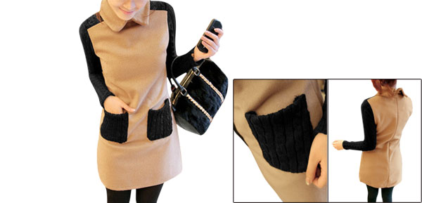 Lady Doll Collar Knitted Long Sleeve Apricot Black Straight Dress S