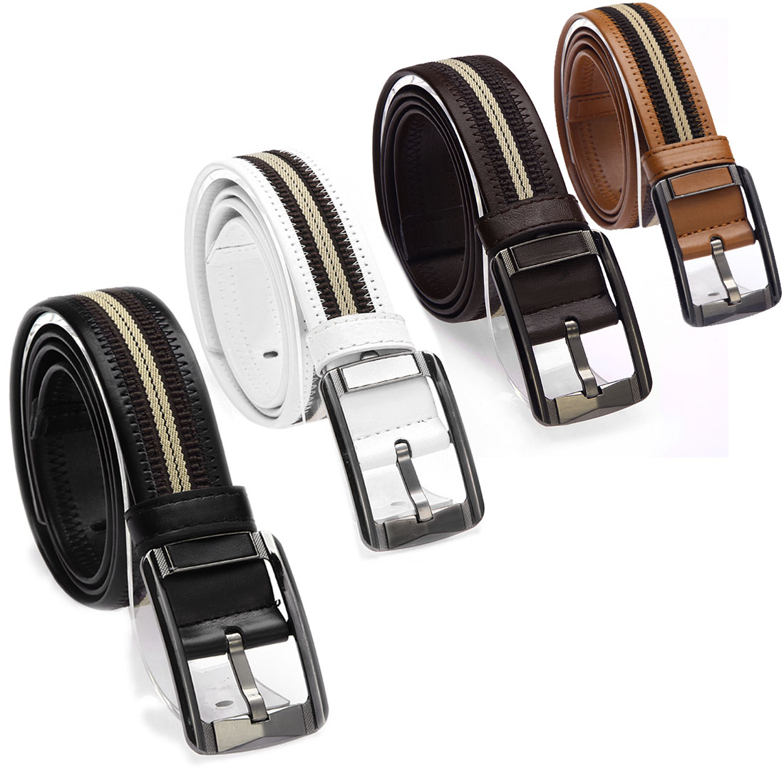 777-D32 Men Women Black Coffee Color Single Pin Buckle...