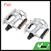Pair Silver Tone Black Alumnium Alloy Pedals for Bicycle Cycling