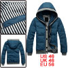 Stripes Detail Zip Up Convertible Collar Winter Dark Blue Down Co...