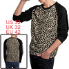 Mens Black Beige Fashion Leopard Pattern Long Sleeve Bottoming Shirt S