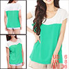 Ladies Color Blocking Round Collar Rhinestone Decor Shirts Light ...