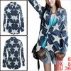 Womens Star Design Contrast Color Dark Blue White Button Up Casua...