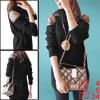 Semi Sheer Lace Shoulder Long Sleeve Solid Black Pullover Sweater...