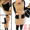 Lady Doll Collar Knitted Long Sleeve Apricot Black Straight Dress...