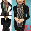 Ladies Black One Button Closure Back Pullover Long Sleeves Shirt ...