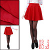 Ladies Red Elastic Waist Casual Shirred Mini Winter Tweed Skater Skirt XS