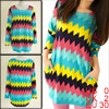 Ladies Multicolor Bracelet Sleeves Pullover Casual Shirt XS