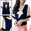 Ladies Navy Blue Short Sleeves Dots Pattern Semi Sheer Summer Shi...