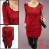 Ladies Red Side Pockets Pullover Autumn Stylish Tunic Shirt XS