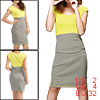 Ladies Sleeveless Color Blocking Scoop Neck High Waist Stretchy Dress Light Gray Yellow XS