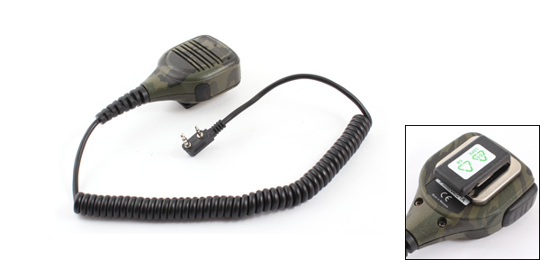 Handheld Speaker Mic Microphone 2Pin Plug Army Green for Kenwood Car Radio